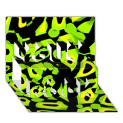 Green Neon Abstraction You Rock 3d Greeting Card (7x5) by Valentinaart