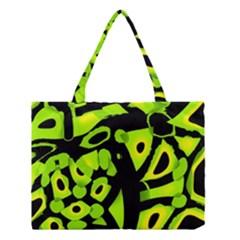 Green Neon Abstraction Medium Tote Bag by Valentinaart