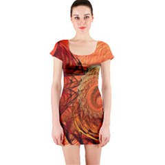 Nautilus Shell Abstract Fractal Short Sleeve Bodycon Dress by designworld65