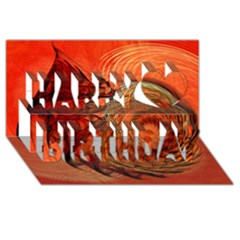Nautilus Shell Abstract Fractal Happy Birthday 3d Greeting Card (8x4) by designworld65