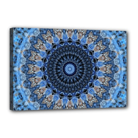 Feel Blue Mandala Canvas 18  X 12  by designworld65