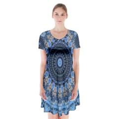 Feel Blue Mandala Short Sleeve V Neck Flare Dress by designworld65