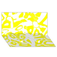 Yellow Sunny Design Twin Heart Bottom 3d Greeting Card (8x4) by Valentinaart