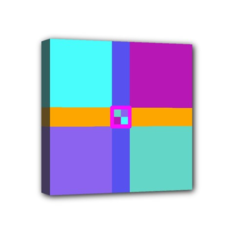 Right Angle Squares Stripes Cross Colored Mini Canvas 4  X 4  by EDDArt