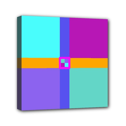 Right Angle Squares Stripes Cross Colored Mini Canvas 6  X 6  by EDDArt