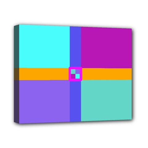 Right Angle Squares Stripes Cross Colored Canvas 10  X 8  by EDDArt