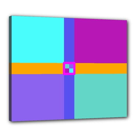 Right Angle Squares Stripes Cross Colored Canvas 24  X 20  by EDDArt