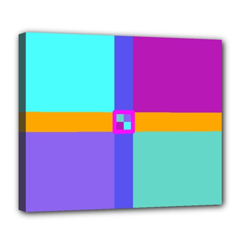 Right Angle Squares Stripes Cross Colored Deluxe Canvas 24  X 20   by EDDArt