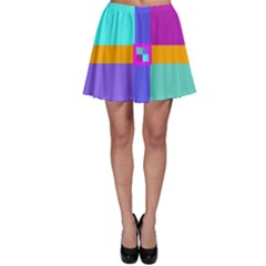 Right Angle Squares Stripes Cross Colored Skater Skirt by EDDArt