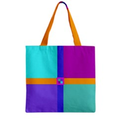 Right Angle Squares Stripes Cross Colored Grocery Tote Bag