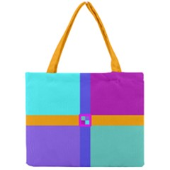 Right Angle Squares Stripes Cross Colored Mini Tote Bag