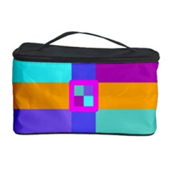Right Angle Squares Stripes Cross Colored Cosmetic Storage Case by EDDArt