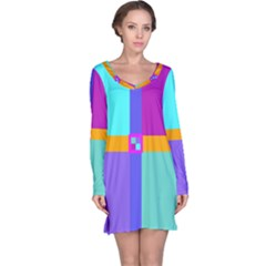 Right Angle Squares Stripes Cross Colored Long Sleeve Nightdress by EDDArt