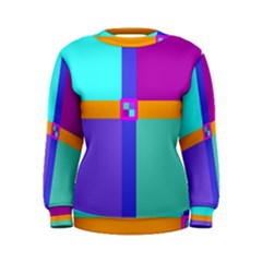 Right Angle Squares Stripes Cross Colored Women s Sweatshirt by EDDArt
