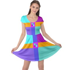 Right Angle Squares Stripes Cross Colored Cap Sleeve Dresses by EDDArt