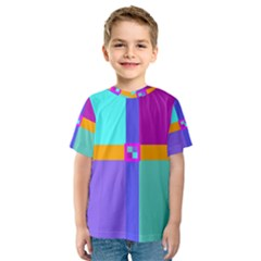 Right Angle Squares Stripes Cross Colored Kids  Sport Mesh Tee by EDDArt