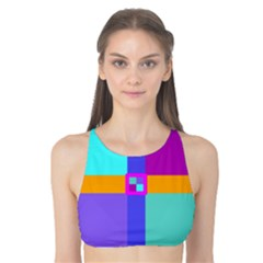 Right Angle Squares Stripes Cross Colored Tank Bikini Top by EDDArt