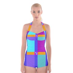 Right Angle Squares Stripes Cross Colored Boyleg Halter Swimsuit  by EDDArt