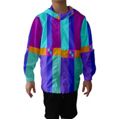 Right Angle Squares Stripes Cross Colored Hooded Wind Breaker (kids) by EDDArt