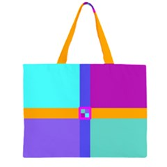 Right Angle Squares Stripes Cross Colored Zipper Large Tote Bag by EDDArt