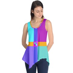 Right Angle Squares Stripes Cross Colored Sleeveless Tunic by EDDArt