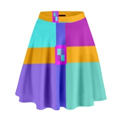 Right Angle Squares Stripes Cross Colored High Waist Skirt by EDDArt