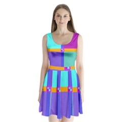 Right Angle Squares Stripes Cross Colored Split Back Mini Dress  by EDDArt