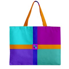 Right Angle Squares Stripes Cross Colored Medium Tote Bag