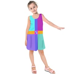 Right Angle Squares Stripes Cross Colored Kids  Sleeveless Dress by EDDArt