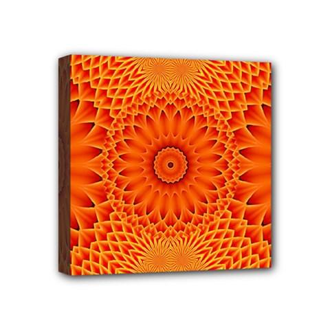 Lotus Fractal Flower Orange Yellow Mini Canvas 4  X 4  by EDDArt