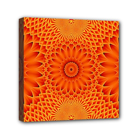 Lotus Fractal Flower Orange Yellow Mini Canvas 6  X 6  by EDDArt