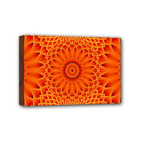 Lotus Fractal Flower Orange Yellow Mini Canvas 6  X 4  by EDDArt