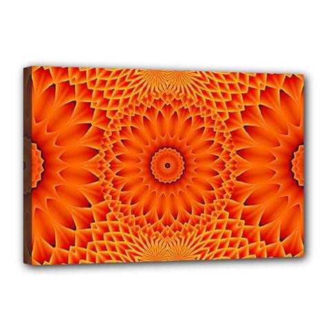 Lotus Fractal Flower Orange Yellow Canvas 18  X 12  by EDDArt