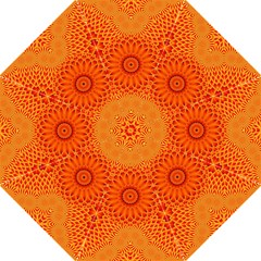 Lotus Fractal Flower Orange Yellow Folding Umbrellas by EDDArt