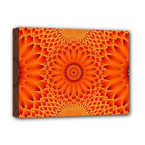 Lotus Fractal Flower Orange Yellow Deluxe Canvas 16  X 12   by EDDArt