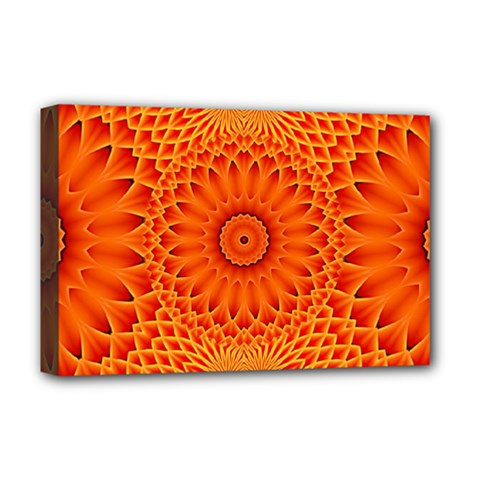 Lotus Fractal Flower Orange Yellow Deluxe Canvas 18  X 12   by EDDArt