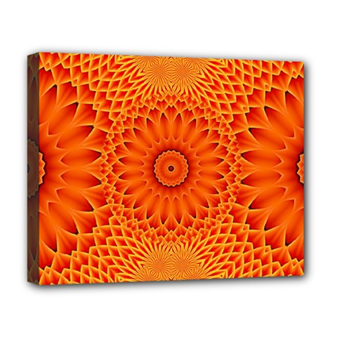 Lotus Fractal Flower Orange Yellow Deluxe Canvas 20  X 16   by EDDArt