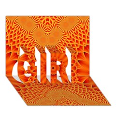 Lotus Fractal Flower Orange Yellow Girl 3d Greeting Card (7x5) by EDDArt