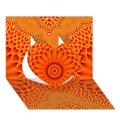 Lotus Fractal Flower Orange Yellow Heart 3d Greeting Card (7x5) by EDDArt