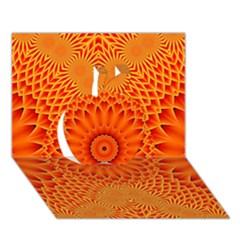 Lotus Fractal Flower Orange Yellow Apple 3d Greeting Card (7x5) by EDDArt