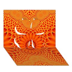 Lotus Fractal Flower Orange Yellow Clover 3d Greeting Card (7x5) by EDDArt