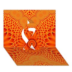 Lotus Fractal Flower Orange Yellow Ribbon 3d Greeting Card (7x5) by EDDArt