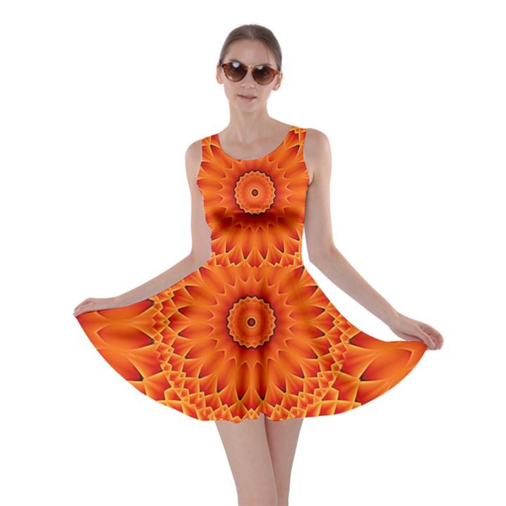 Lotus Fractal Flower Orange Yellow Skater Dress