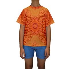 Lotus Fractal Flower Orange Yellow Kids  Short Sleeve Swimwear by EDDArt