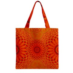 Lotus Fractal Flower Orange Yellow Grocery Tote Bag by EDDArt