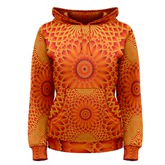 Lotus Fractal Flower Orange Yellow Women s Pullover Hoodie by EDDArt