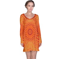 Lotus Fractal Flower Orange Yellow Long Sleeve Nightdress by EDDArt