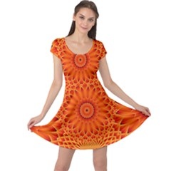 Lotus Fractal Flower Orange Yellow Cap Sleeve Dresses by EDDArt