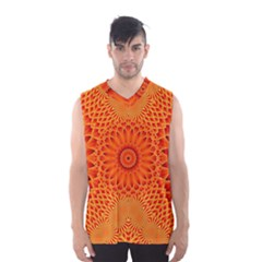 Lotus Fractal Flower Orange Yellow Men s Basketball Tank Top by EDDArt