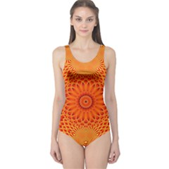 Lotus Fractal Flower Orange Yellow One Piece Swimsuit by EDDArt